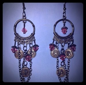 Jewelry - Pink and Gold Chandelier Earrings